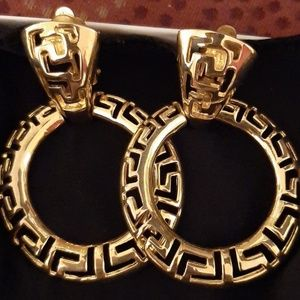 Gold Tone Greek Key Earrings (Clip-ons)